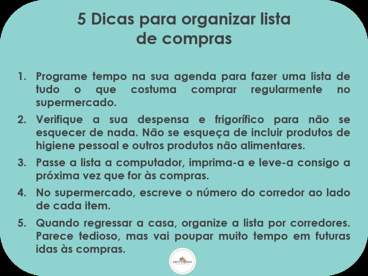 5 dicas organizar lista compras